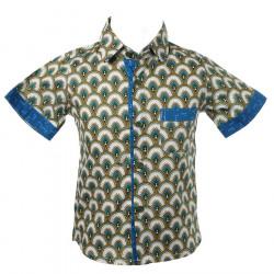 Chemise coton manches courtes garçon 2-10 ans bleu et vert kaki