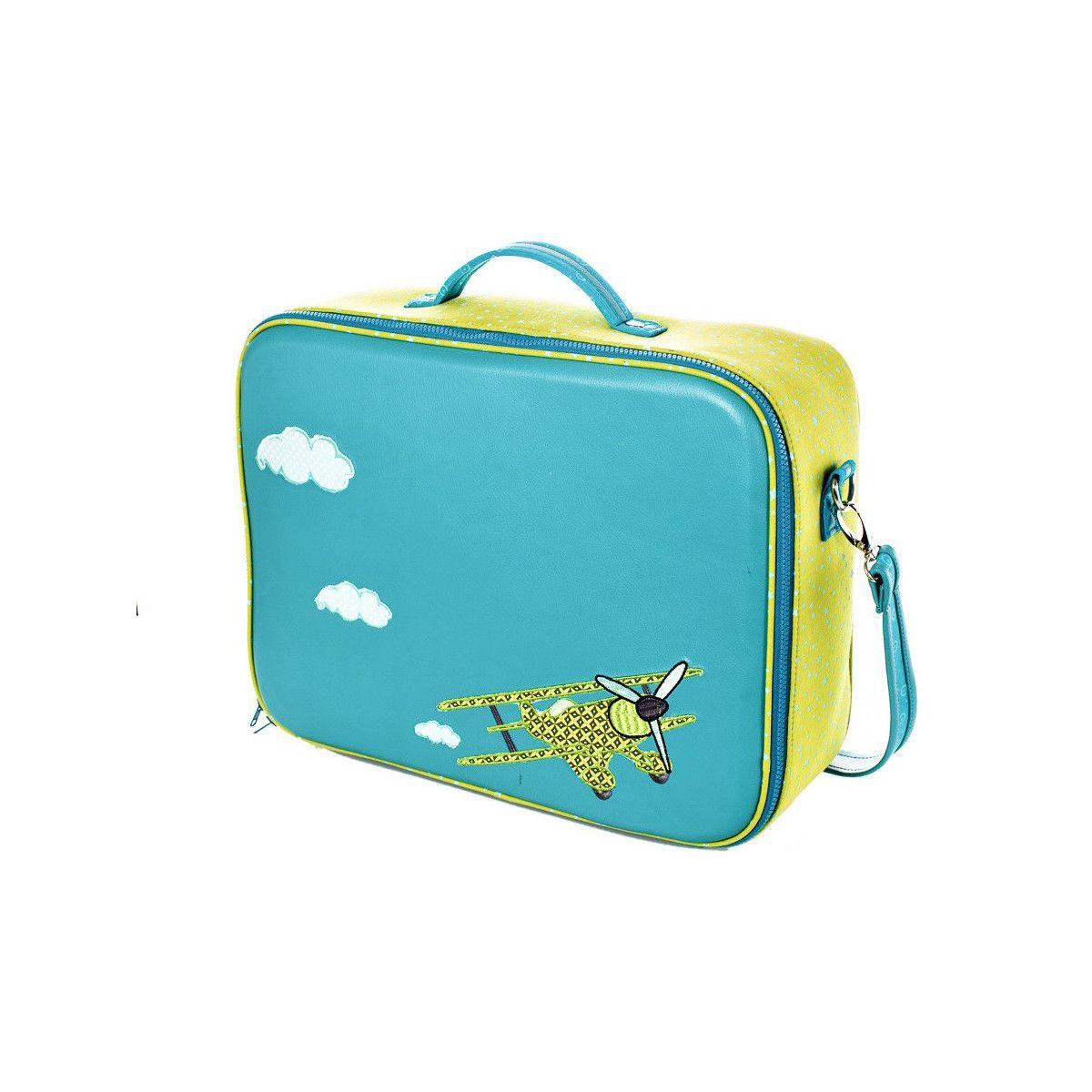 valise-originale-de-voyage-bébé-enfant-avion-bleu-et-vert