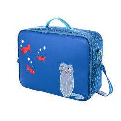 Valise originale de voyage bébé, enfant chat bleu et poissons rouges