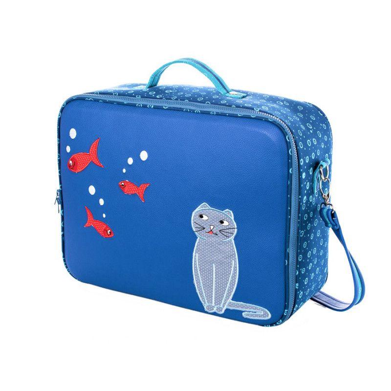 valise originale de voyage b b enfant chat bleu et. Black Bedroom Furniture Sets. Home Design Ideas