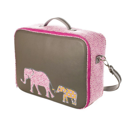 Valise originale de voyage bébé, enfant grise et éléphant rose