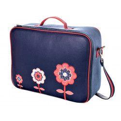 Valise originale de voyage bébé, enfant bleue et fleurs rouge