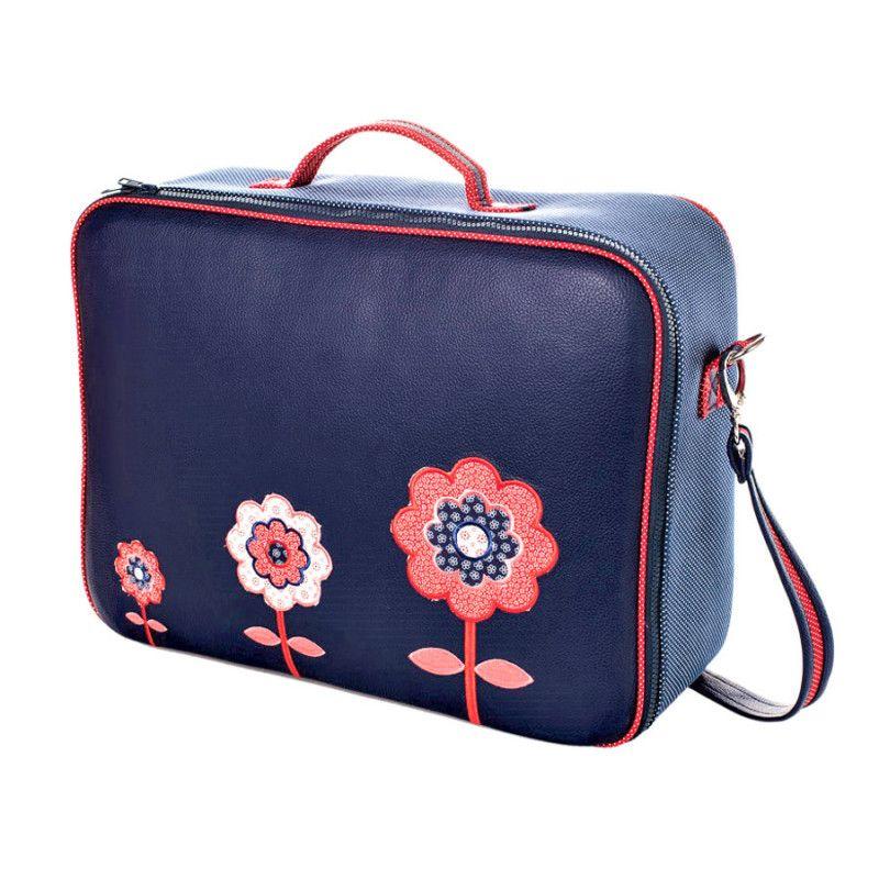 valise originale de voyage b b enfant bleue et fleurs rouge. Black Bedroom Furniture Sets. Home Design Ideas