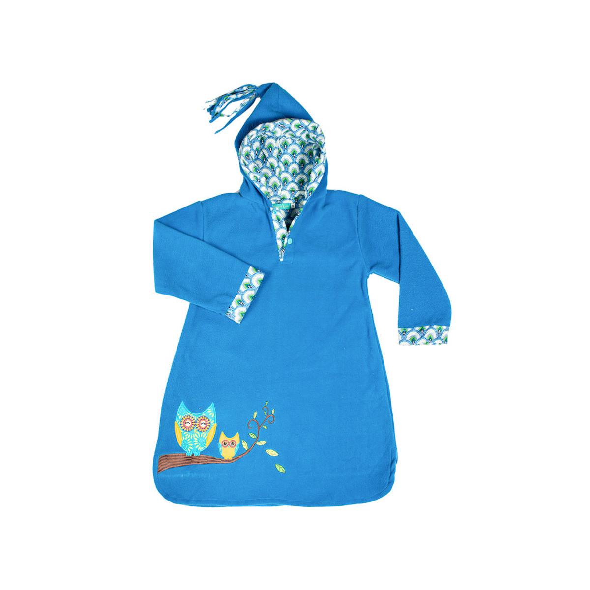 Burnou polaire enfant bleu et hibou brodé