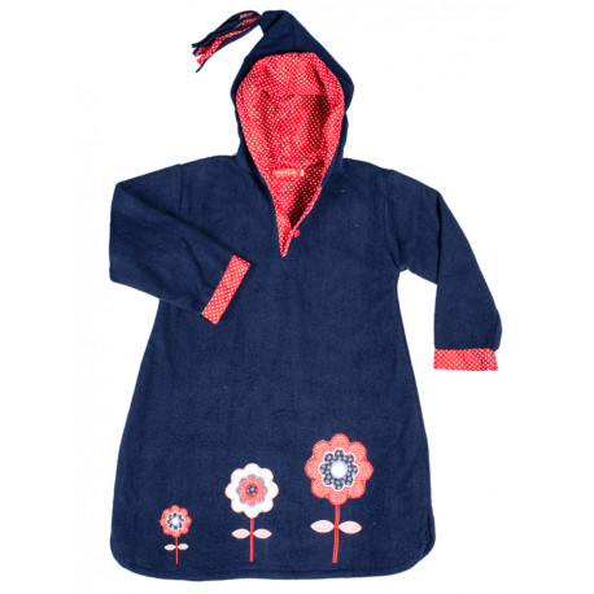 Burnou polaire enfant bleu marine et fleurs rouges