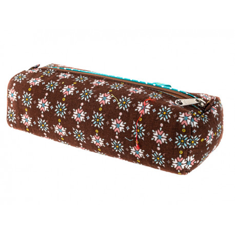 Trousse plumier coton original marron chocolat
