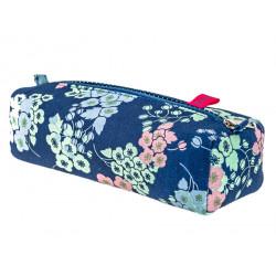 Trousse plumier coton original bleue et fleurs