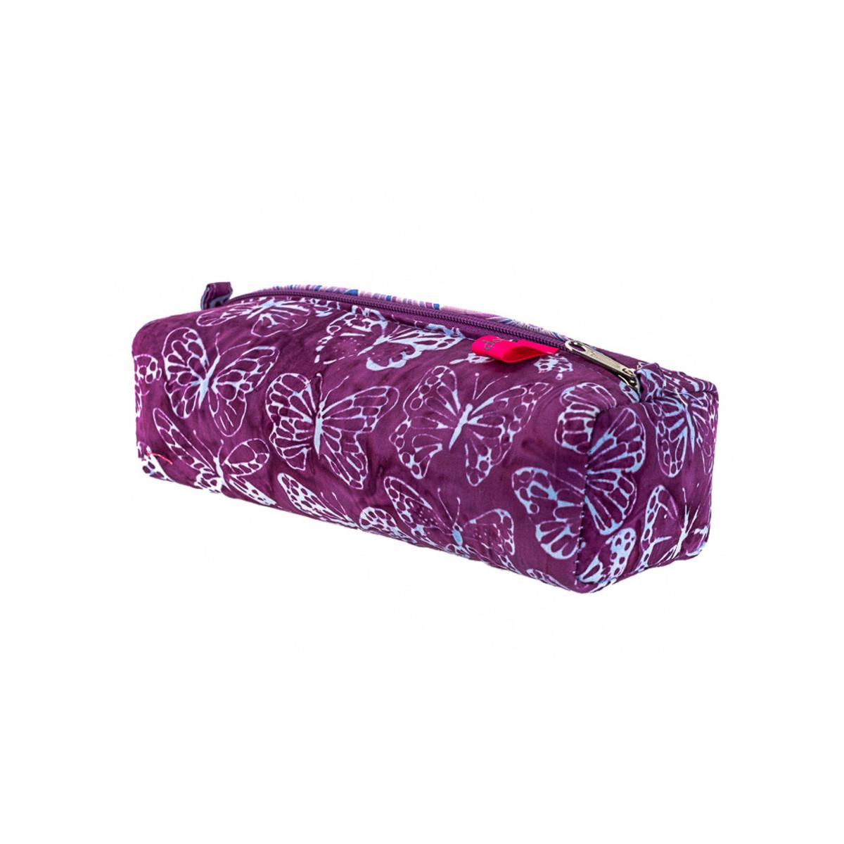 Trousse plumier coton original violet et papillons