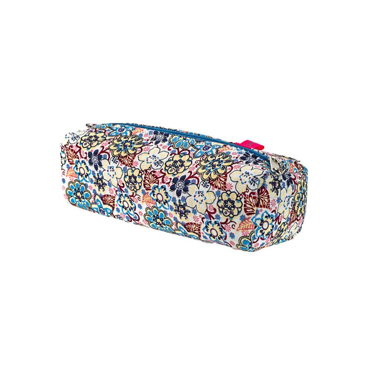 Trousse plumier coton original bleu et rose clair à fleurs