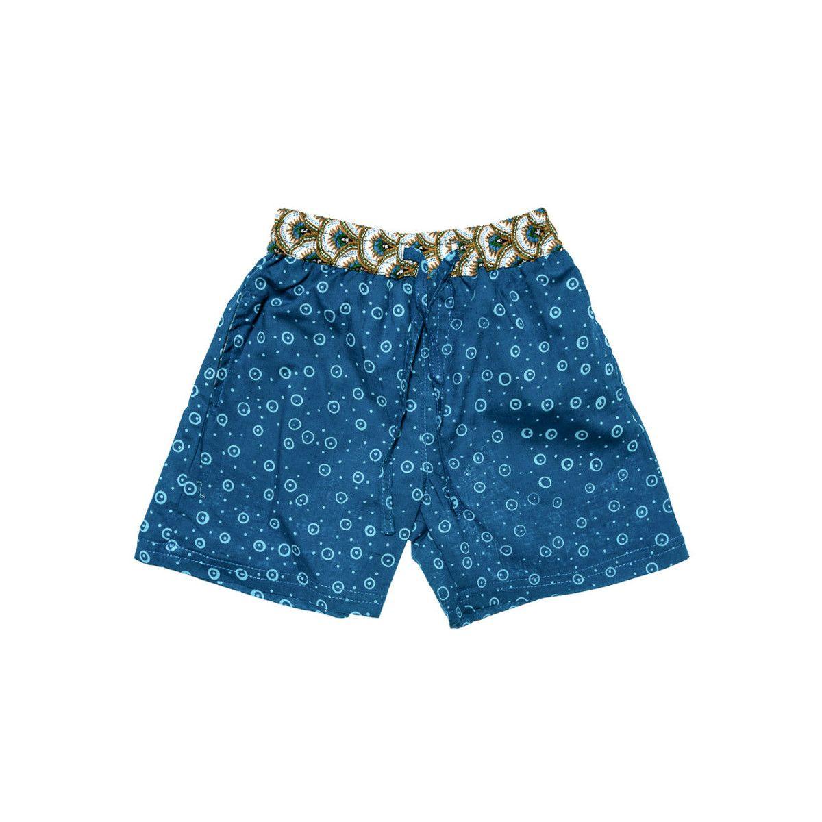 Short de bain coton enfant 2-8 ans bleu foncé et vert kaki
