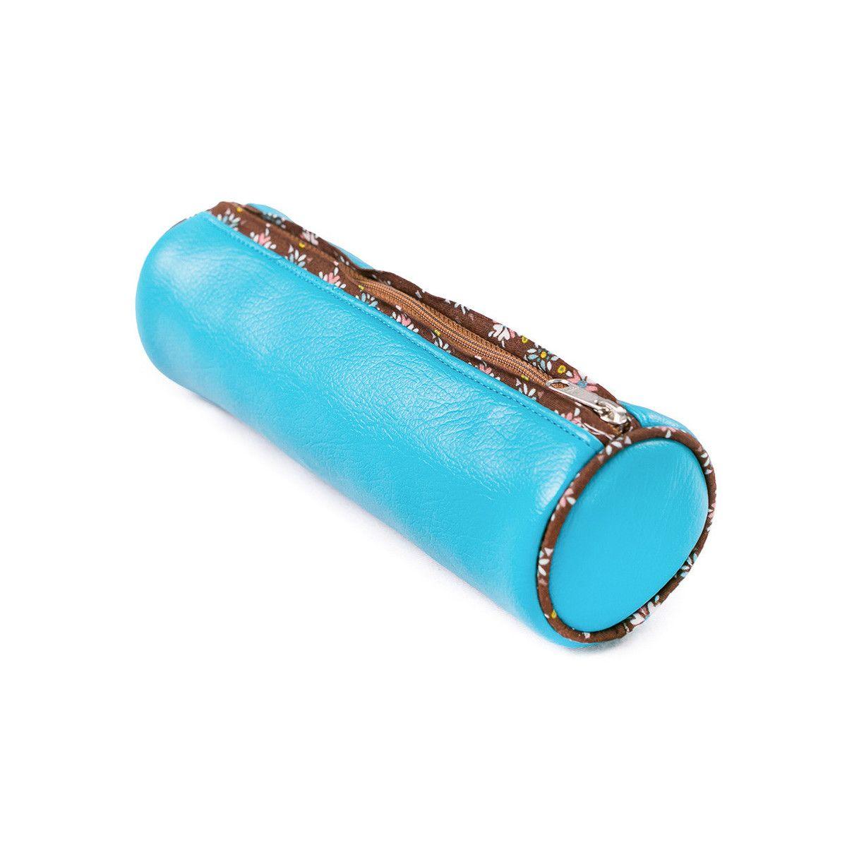 trousse ronde école enfant bleu turquoise et marron chocolat