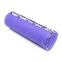 trousse ronde école enfant violette à fleurs