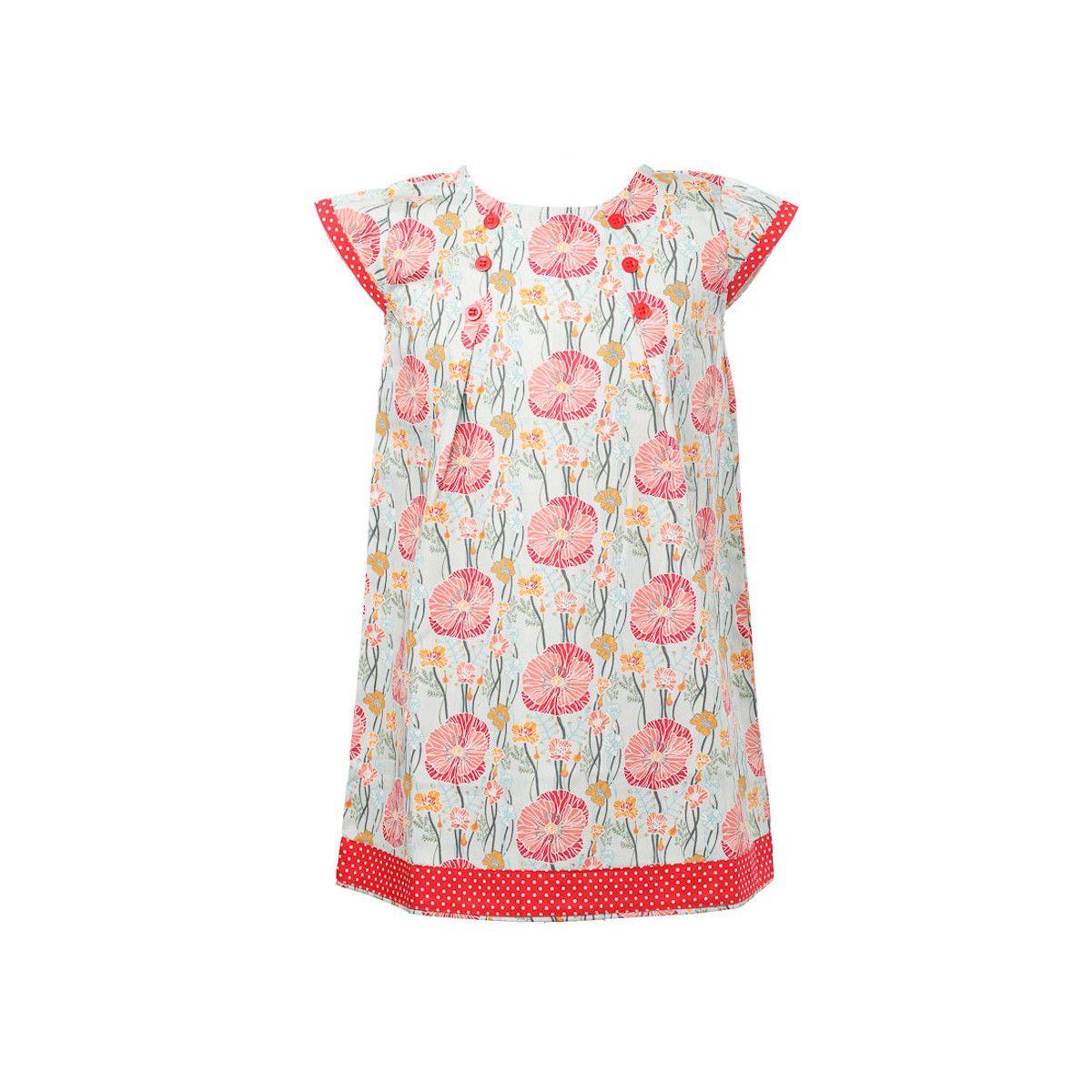 Robe coton fille 2-10 ans bleu clair et coquelicot rouge