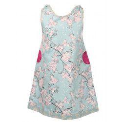 Robe manches courtes coton fille 2-8 ans bleu clair et rose à fleurs