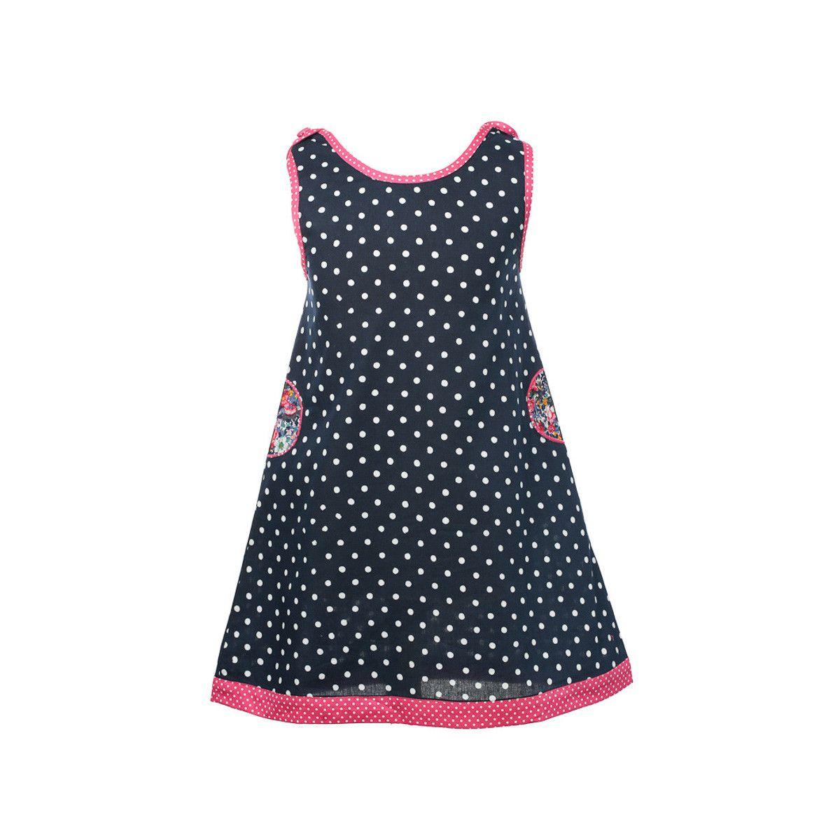Robe sans manches coton fille 2-10 ans rose et noire à pois
