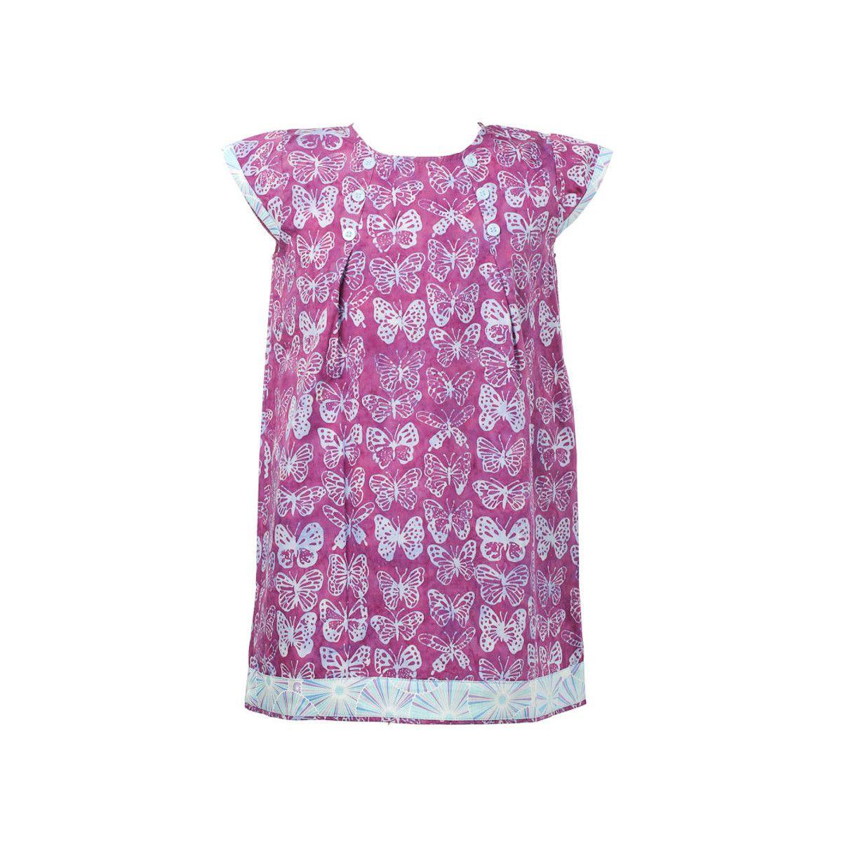 Robe manches courtes coton fille 2-10 ans papillons violets
