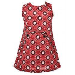 Robe sans manches coton fille 2-8 ans rose framboise et noire