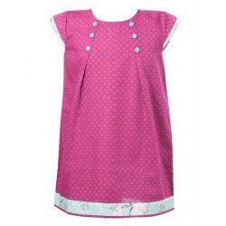 Robe manches courtes coton fille 2-10 ans bleu clair et rose