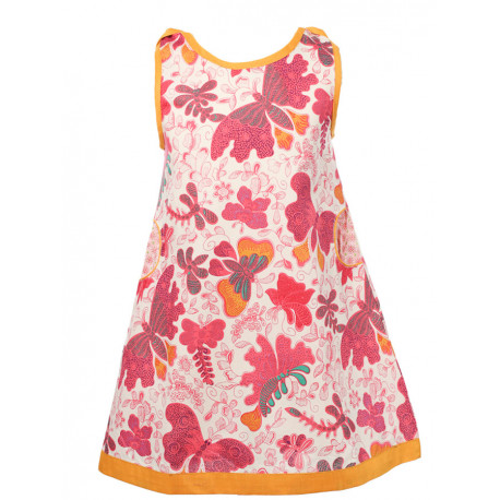 Robe manches courtes coton fille 2-10 ans papillons roses