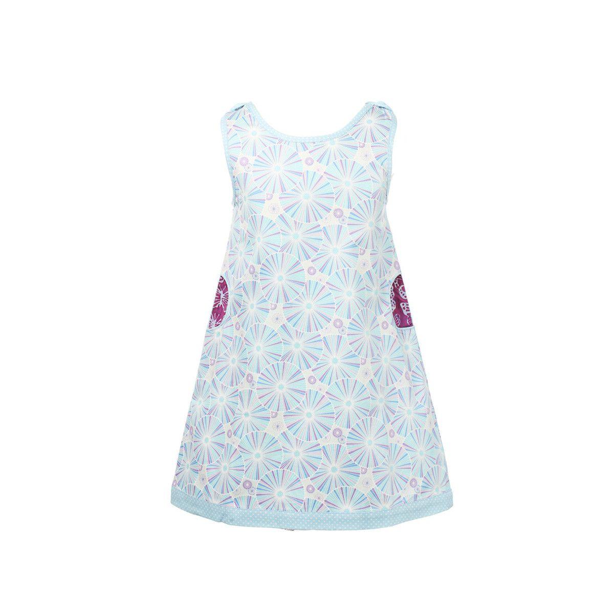 Robe sans manches coton fille 2-10 ans bleu clair et violet