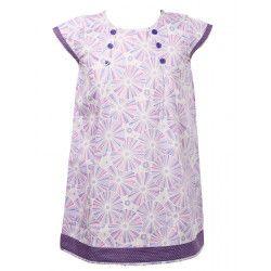 Robe manches courtes coton fille 2-10 ans violet mauve