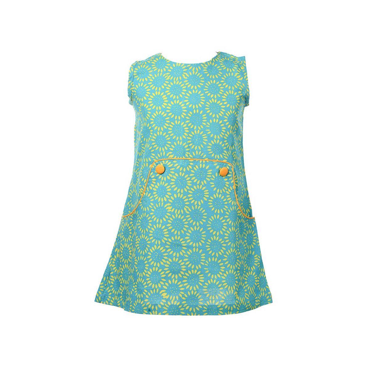 Robe manches courtes coton fille 2-10 ans bleu vert turquoise