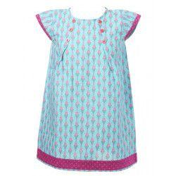Robe manches courtes coton fille 2-10 ans rose et bleu
