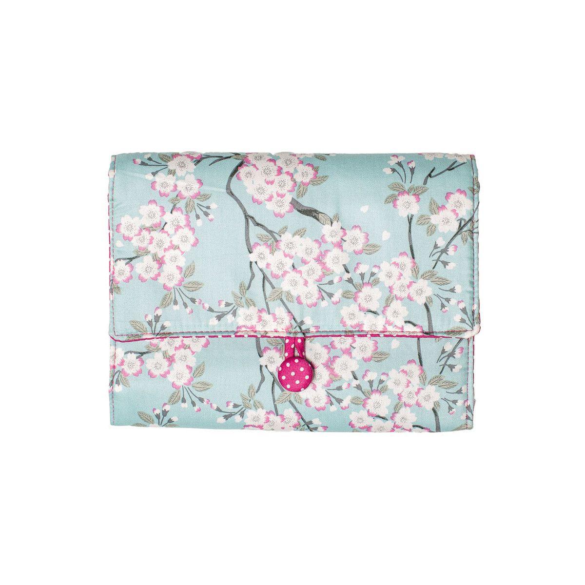 Pochette à dessin de voyage bleu clair et rose à fleurs