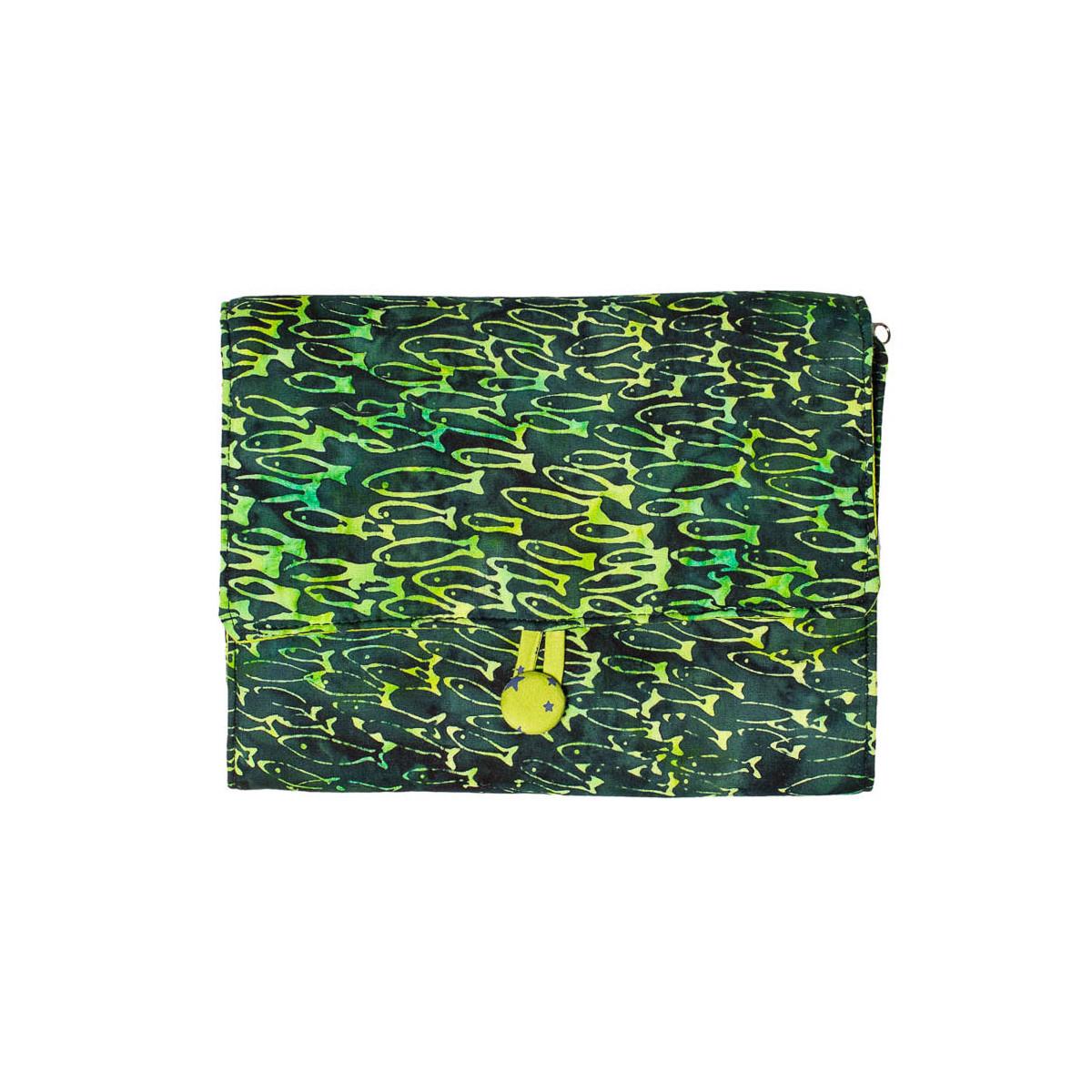 Pochette à dessin de voyage poisson vert
