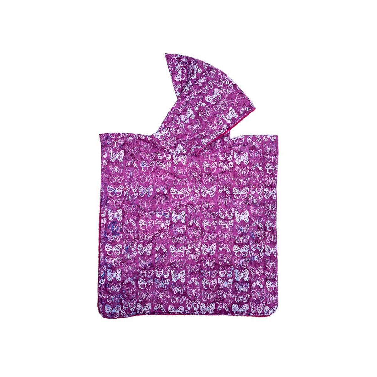 Poncho de bain, de plage à capuche enfant papillons violets