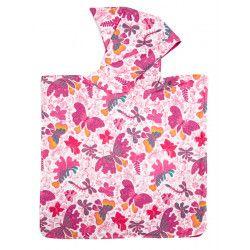 Poncho de bain à capuche Papillons roses
