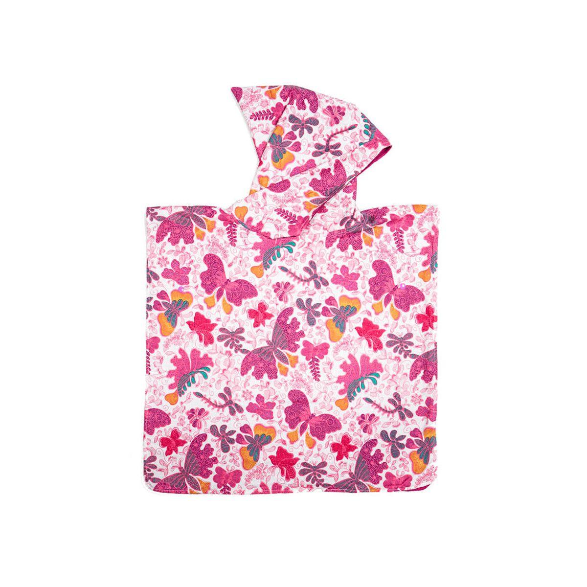 Poncho de bain, de plage à capuche enfant papillons roses