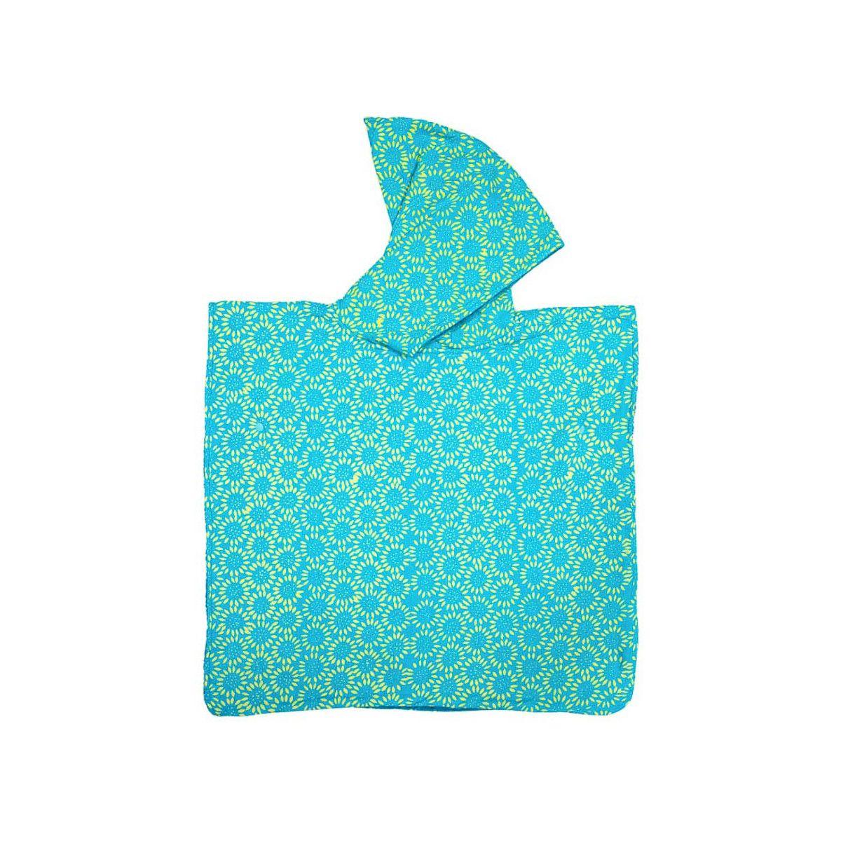 Poncho de bain, de plage à capuche enfant bleu vert turquoise