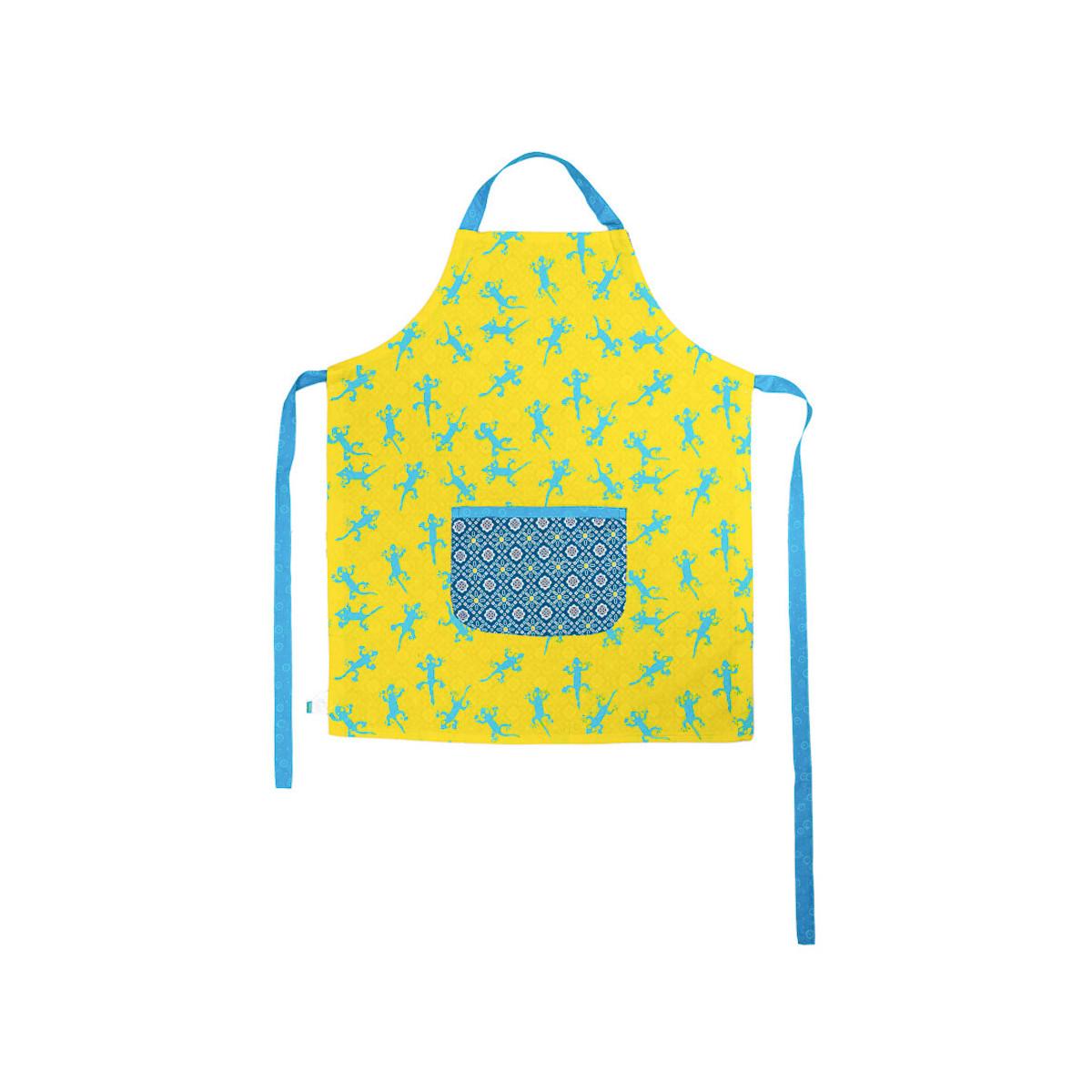 Tablier de cuisine enfant réversible coton bleu