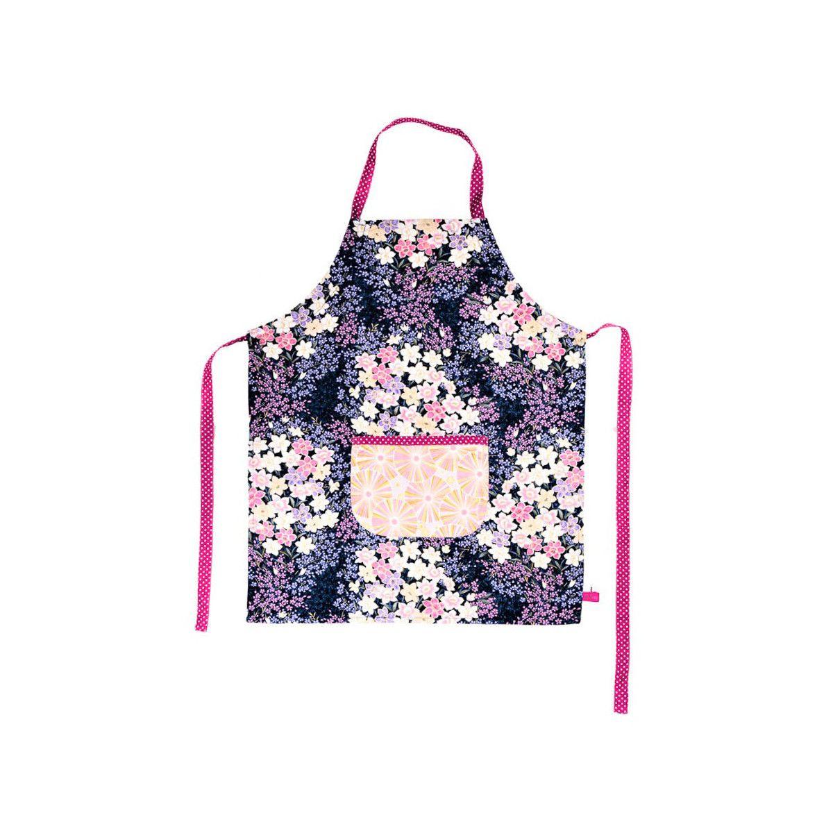 Tablier de cuisine enfant réversible rose et violet à fleurs