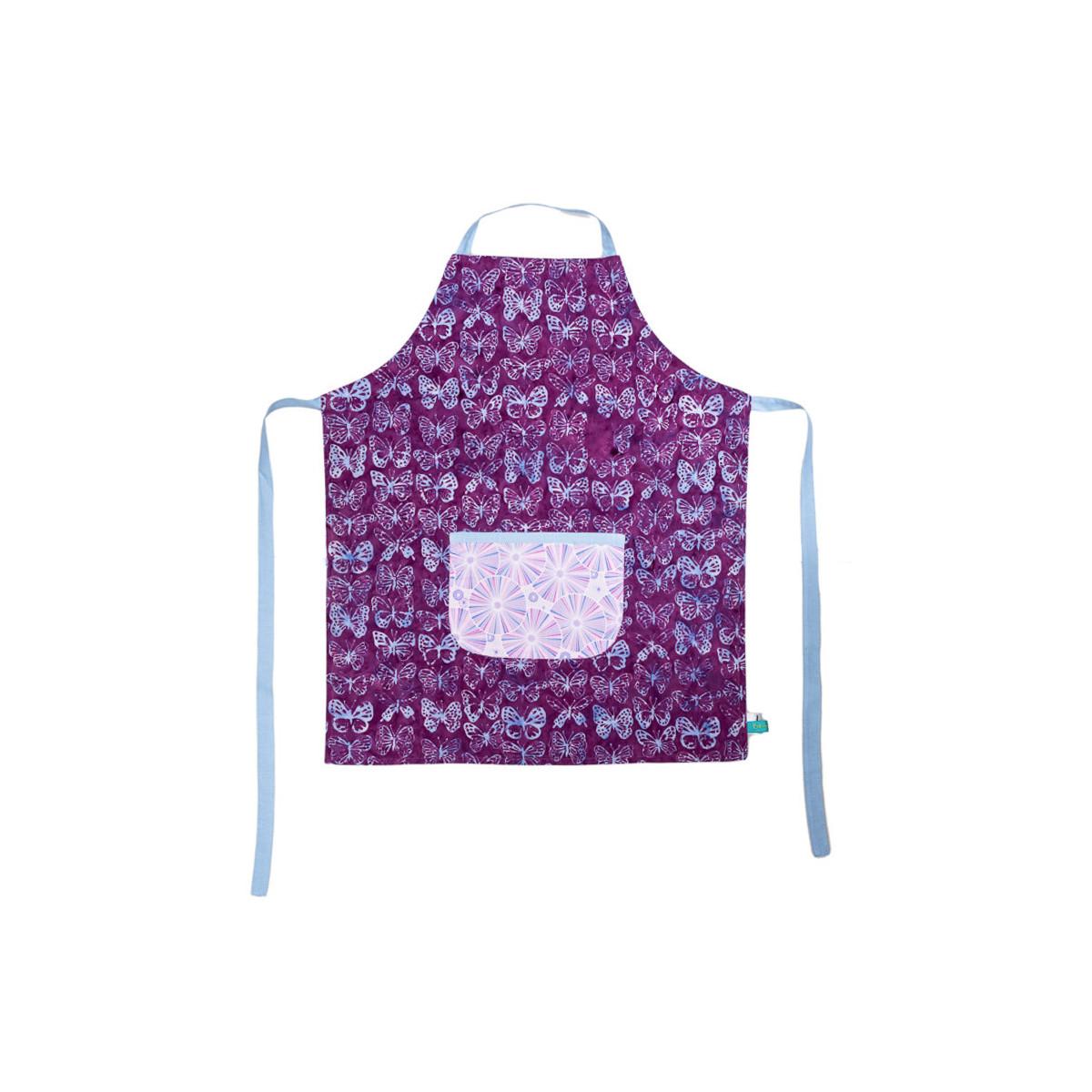 Tablier de cuisine enfant réversible papillons violets