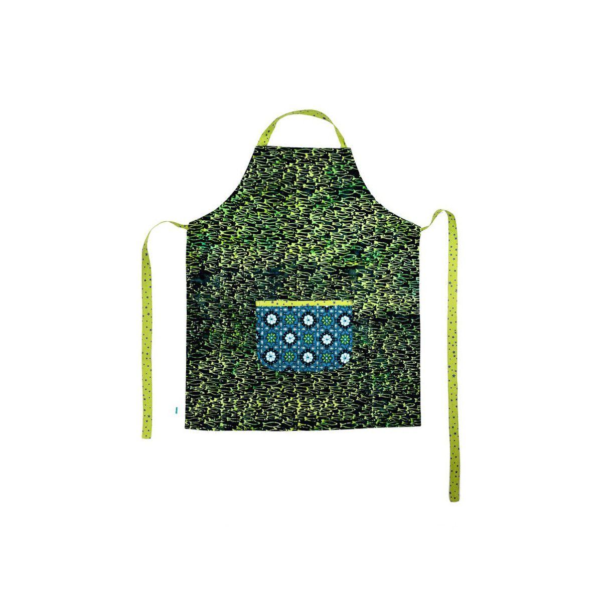 Tablier de cuisine enfant réversible vert et bleu