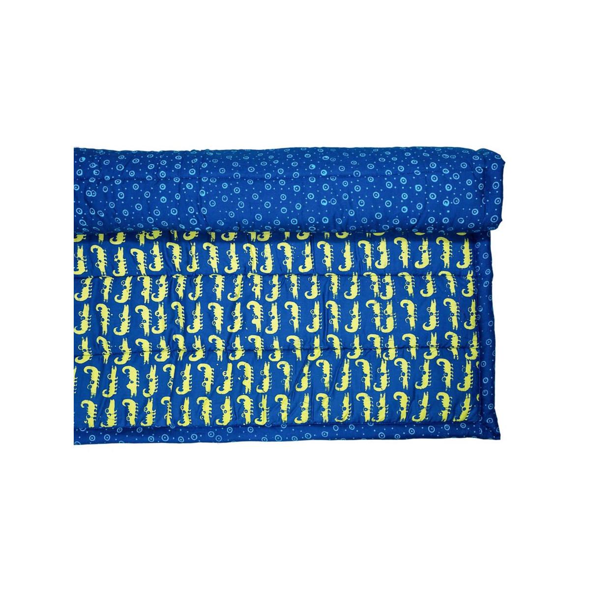 Tapis d'éveil, de jeux bébé coton bleu et vert crocodiles