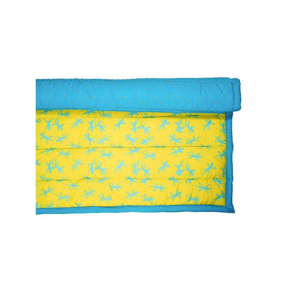 Tapis d'éveil, de jeux bébé coton bleu turquoise geckos