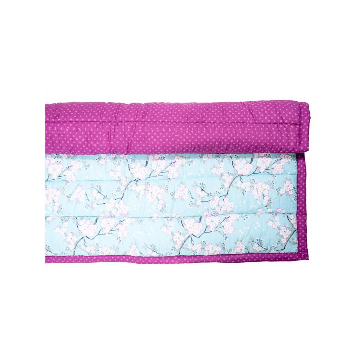 Tapis d'éveil, de jeux bébé coton bleu ciel et rose fushia