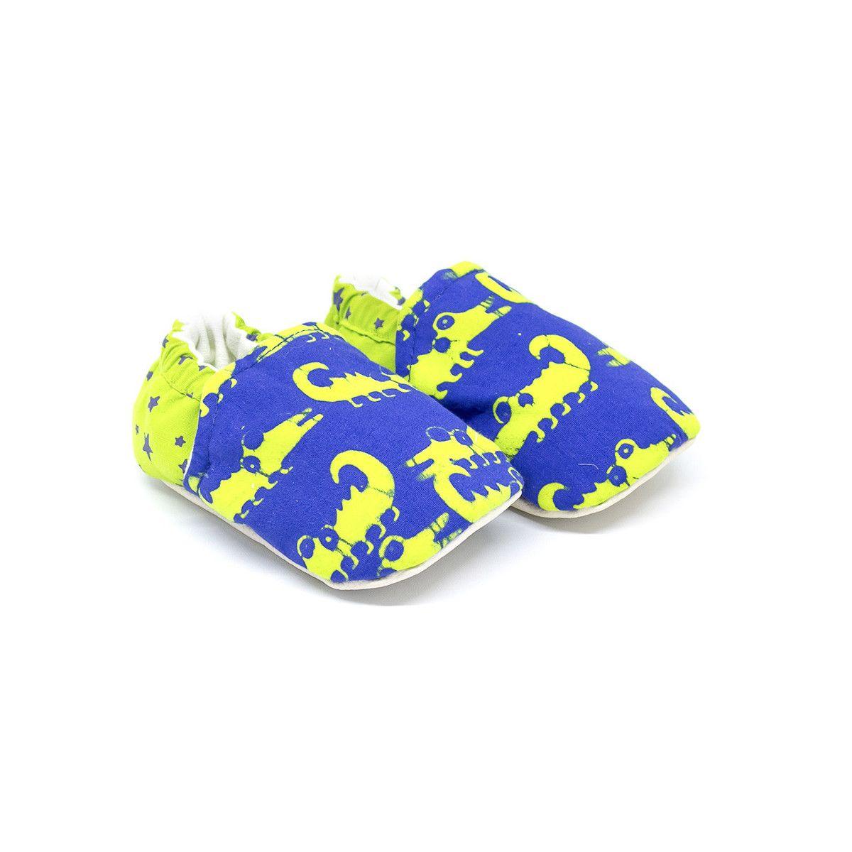 Chaussons bébé souples bleu et vert crocodiles