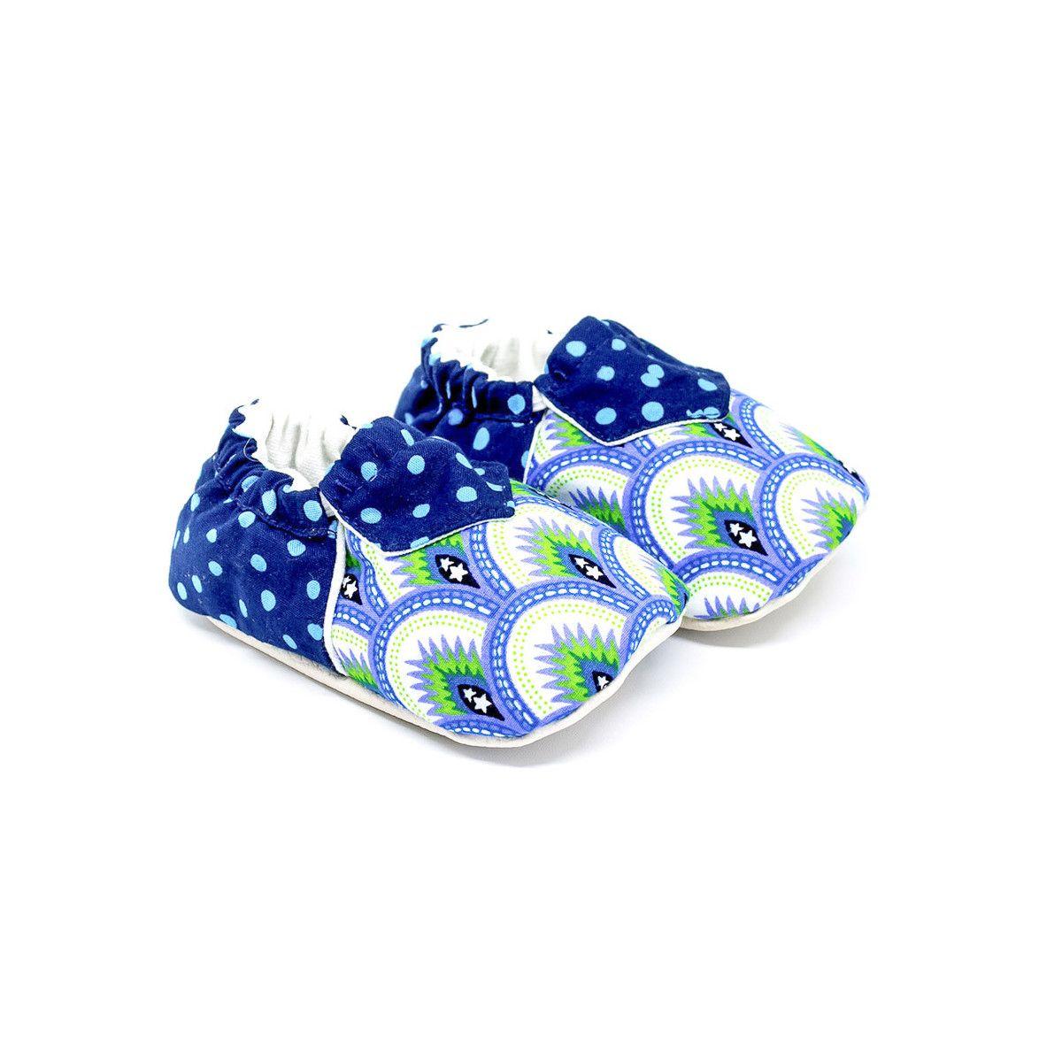 Chaussons bébé souples bleu et vert