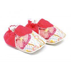 Chaussons bébé souples rouge coquelicot