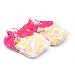 Chaussons bébé coton souples rose