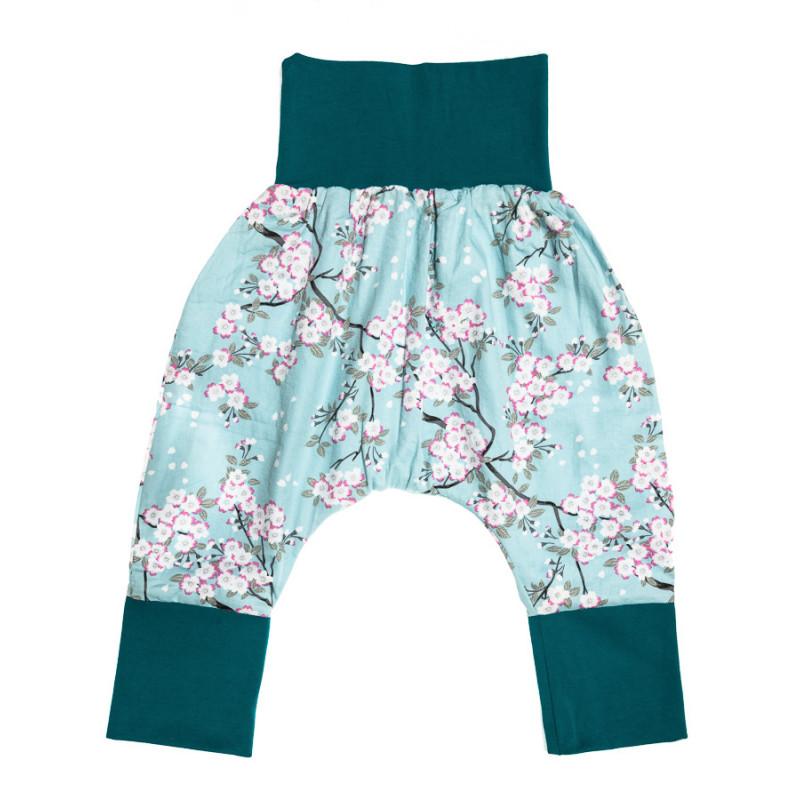 baa056a900d97 Pantalon sarouel doublé bébé vert d'eau et fleurs. Loading zoom