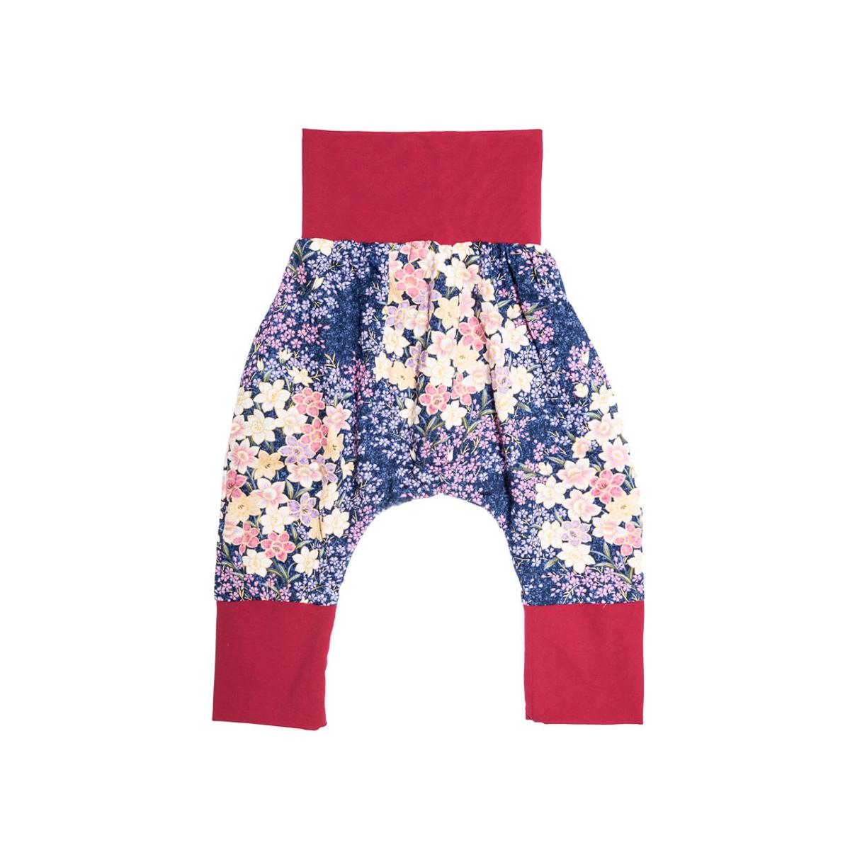 Pantalon sarouel doublé fille 6-24 mois mauve et fleurs