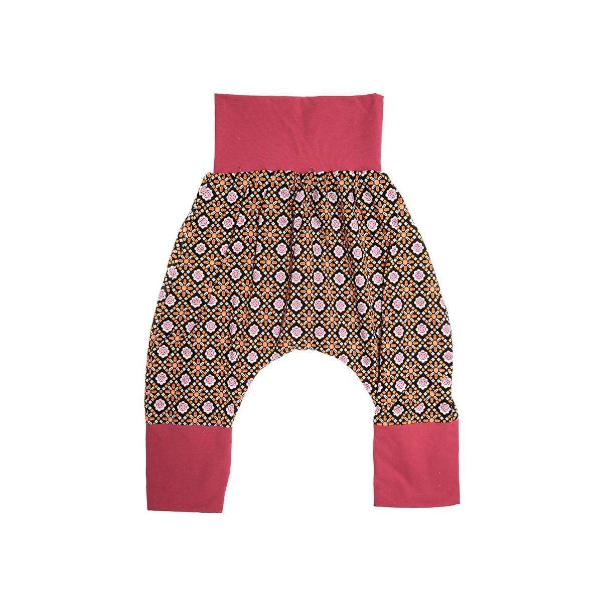 Pantalon sarouel doublé bébé 6-24 mois orange et noir
