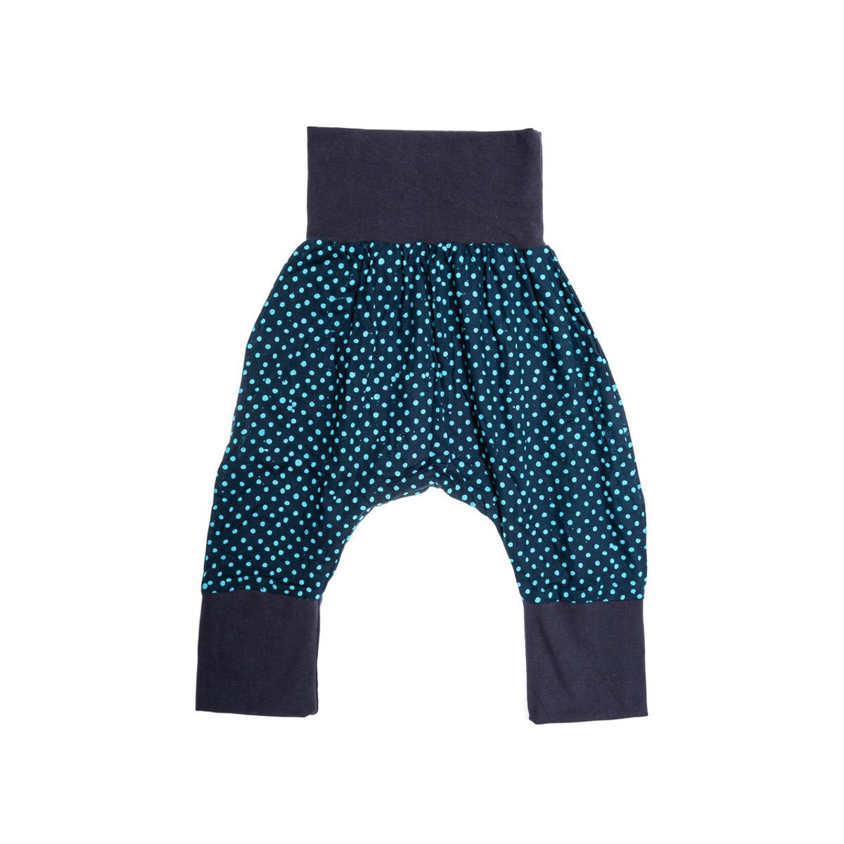 Pantalon sarouel doublé bébé 6-24 mois bleu nuit à pois