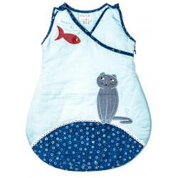 Gigoteuse molletonnée 0-12 mois bébé chat bleu et poisson rouge