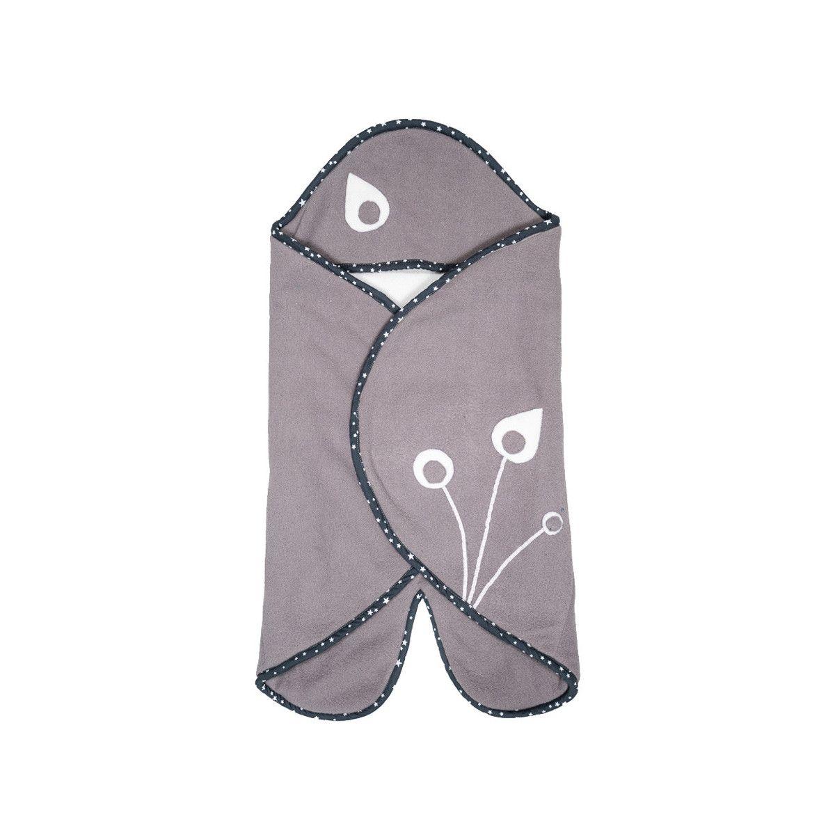 Nid d'ange, couverture nomade polaire bébé 0-12 mois gris et blanc